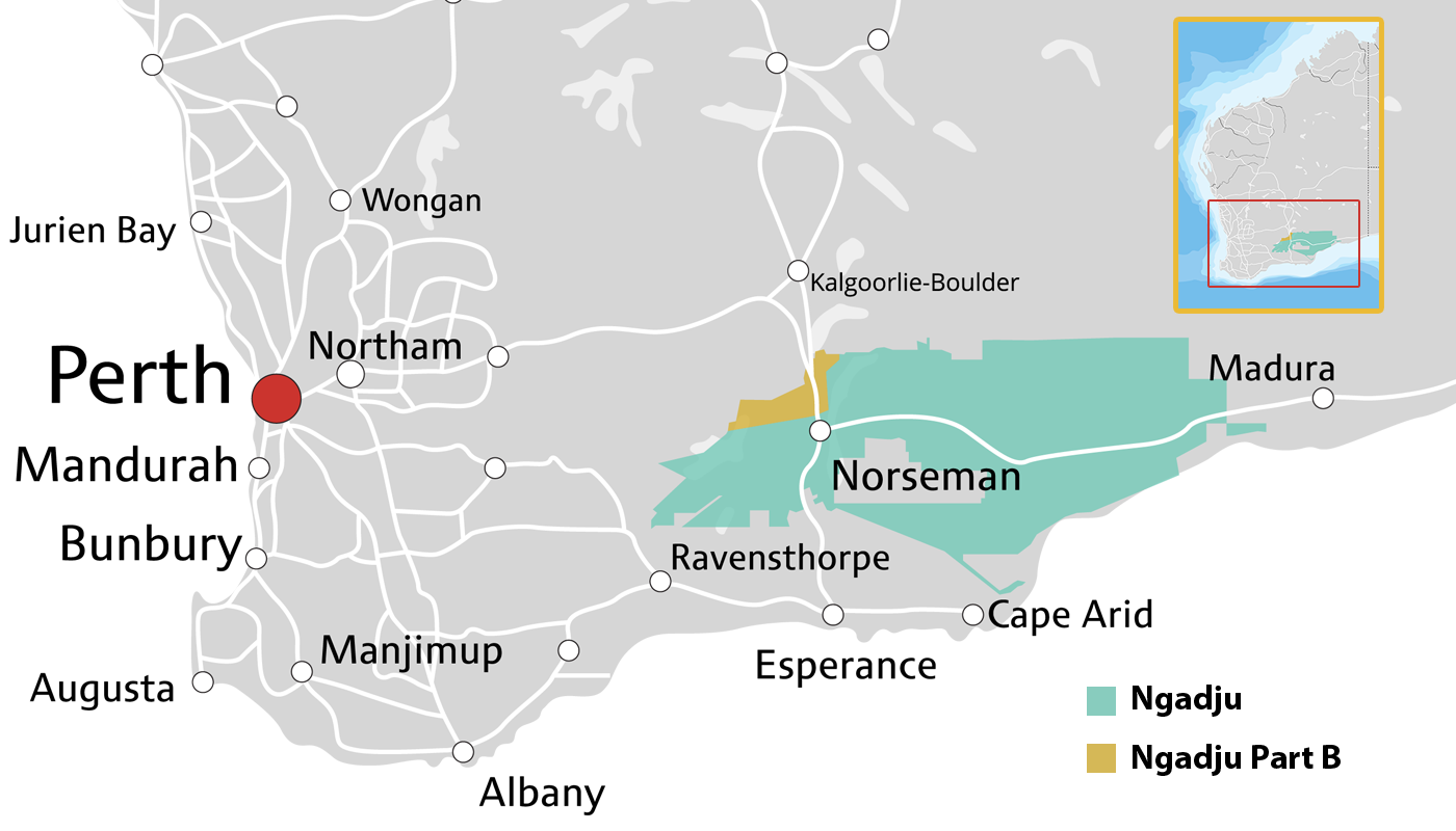 Map of Ngadju Country in Western Australia